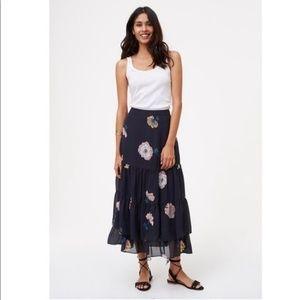 LOFT Size 14 Floral Ruffle Peasant Boho Maxi Skirt